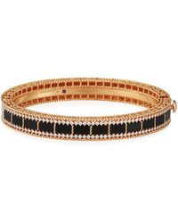 Roberto Coin Art Deco 18k Rose Gold Black Jade & Diamond Bracelet - Metallic