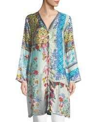 Johnny Was - Witteau Button-front Graphic Silk Cardigan - Lyst