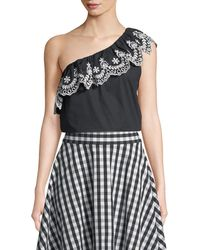 Kate Spade - Cutwork One-shoulder Cotton Top - Lyst