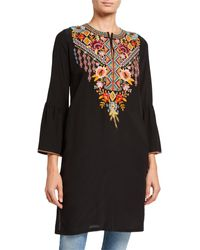 Johnny Was - Clansy Flare-sleeve Silk Tunic With Embroidery - Lyst