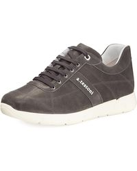 A.Testoni - Men's Leather Trainer Sneakers - Lyst
