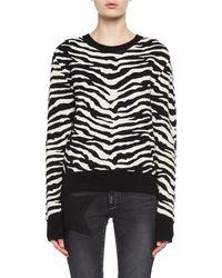 Saint Laurent - Zebra Jacquard Sweater - Lyst
