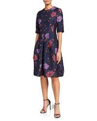 Teri Jon Floral Jacquard Cocktail Dress - Blue
