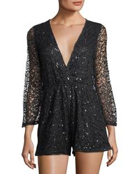 Haute Rogue - Sequined V-neck Lace Romper - Lyst