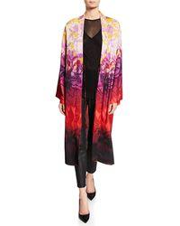 Fuzzi Long Gradient-print Satin Kimono - Red