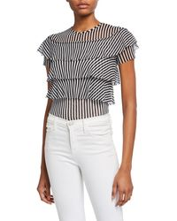 Fuzzi - Striped Tiered Ruffle Short-sleeve Top - Lyst