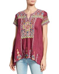 Johnny Was Tamia Embroidered Draped Top - Multicolour