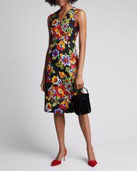 Carolina Herrera Floral Jacquard V-neck Shift Dress - Black