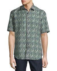 Brioni - Geometric Linen-blend Short-sleeve Sport Shirt - Lyst