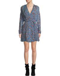 IRO Bustle Surplice Long-sleeve Wrap Dress - Blue