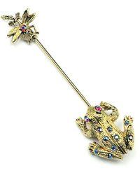 Ben-Amun Crystal Frog & Insect Pin - Metallic
