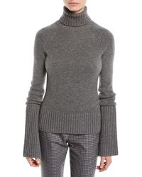 Michael Kors - Turtleneck Bell-sleeve Cashmere Pullover Sweater - Lyst