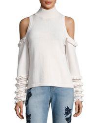 Jonathan Simkhai   Cold-shoulder Crochet Ruffle Turtleneck Sweater   Lyst