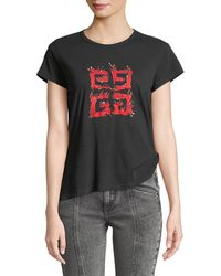 Givenchy - 4-logo Crewneck Short-sleeve Jersey T-shirt - Lyst