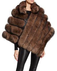 Belle Fare - Asymmetric Zip Fur Poncho - Lyst
