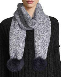 Sofia Cashmere | Marled Cashmere Fur Pompom Scarf | Lyst