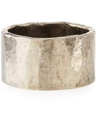 M. Cohen Men's Carved Silver Tube Ring - Metallic