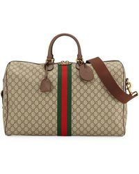 Gucci Ophidia Leather-trimmed Monogrammed Coated-canvas Holdall - Natural