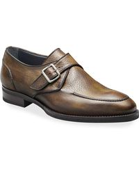 Di Bianco - Men's Pecari Zenzero Single-monk Leather Shoes - Lyst