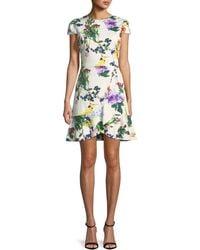 Alice + Olivia - Kirby Jewel-neck Cap-sleeve Floral-print Dress - Lyst