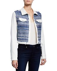 Ramy Brook Barry Button-front Denim & Tweed Combo Jacket - White
