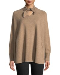 Co. - Tie-neck Long-sleeve Wool-cashmere Poncho Sweater - Lyst