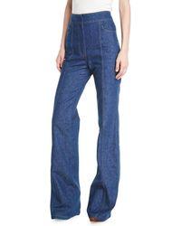 Derek Lam - High-waist Flared-leg Denim Pants W/ Topstitch Detail - Lyst