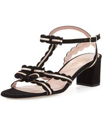 Kate Spade - Medea Low-heel Suede Sandal With Bows - Lyst