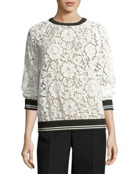 Valentino - Lace Sweatshirt With Varsity Stripes - Lyst