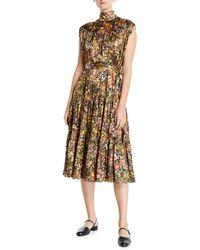 Co. Sleeveless Mock-neck Floral Silk Dress - Brown