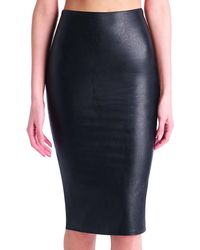 Commando - Black Faux Midi Leather Skirt - Lyst