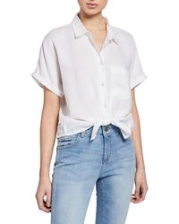 DL1961 Christy Button-down Short-sleeve Tie-front Top - White
