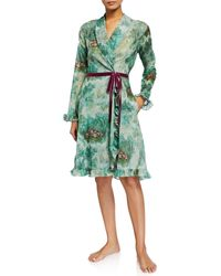La Costa Del Algodón Eugenie Floral-print Short Robe - Green