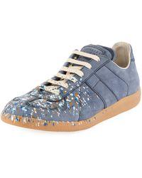 Maison Margiela - Men's Replica Paint-splatter Suede Low-top Sneakers - Lyst