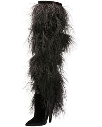Saint Laurent - Yeti Over-the-knee Boot With Feathers - Lyst