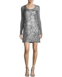 3.1 Phillip Lim - Long-sleeve Metallic Rib-knit Combo Dress - Lyst