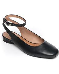 Bernardo Ellie Calf Ankle-strap Ballet Flats - Black