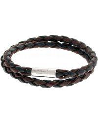 Tateossian Men's Braided Leather Double-wrap Bracelet, Brown/black - Metallic