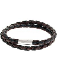 Tateossian - Men's Braided Leather Double-wrap Bracelet - Lyst