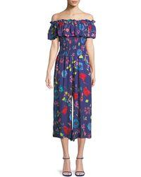 Parker - Janice Off-the-shoulder Floral Wide-leg Jumpsuit - Lyst