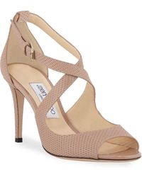 Jimmy Choo - Emily Net-embossed Patent Sandals - Lyst