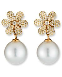 Belpearl - 18k Diamond-daisy Pearl-drop Earrings - Lyst