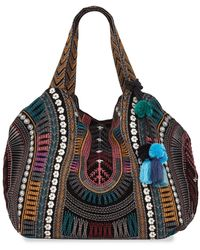 Johnny Was Gaia Embroidered Velveteen Tote Bag - Black