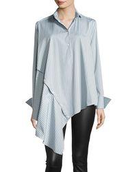 Palmer//Harding - Spicy Striped Detachable Asymmetric Cotton Shirt - Lyst