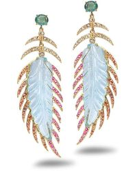 Coomi Affinity 20k Aquamarine Feather Earrings - White