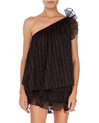 6e696ab5e8ba77 Isabel Marant - Melody Shimmer One-shoulder Ruffle Blouse - Lyst