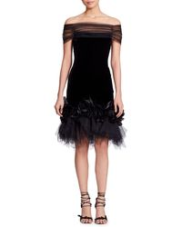 Marchesa - Off-the-shoulder Velvet Cocktail Dress W/ Flowers & Tulle - Lyst