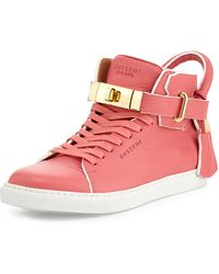 Buscemi | Leather High-top Sneaker With Rolled Strap | Lyst