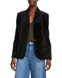 FRAME Stand-collar Soutache Velvet Jacket - Black