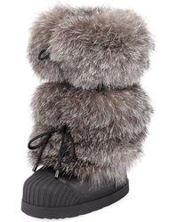 Moncler - Fox Fur Moon Boots - Lyst